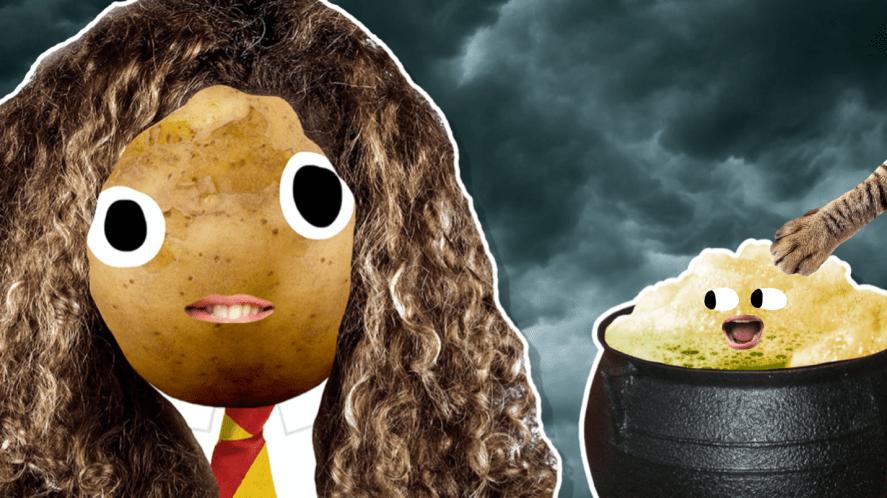 Hermione next to a cauldron