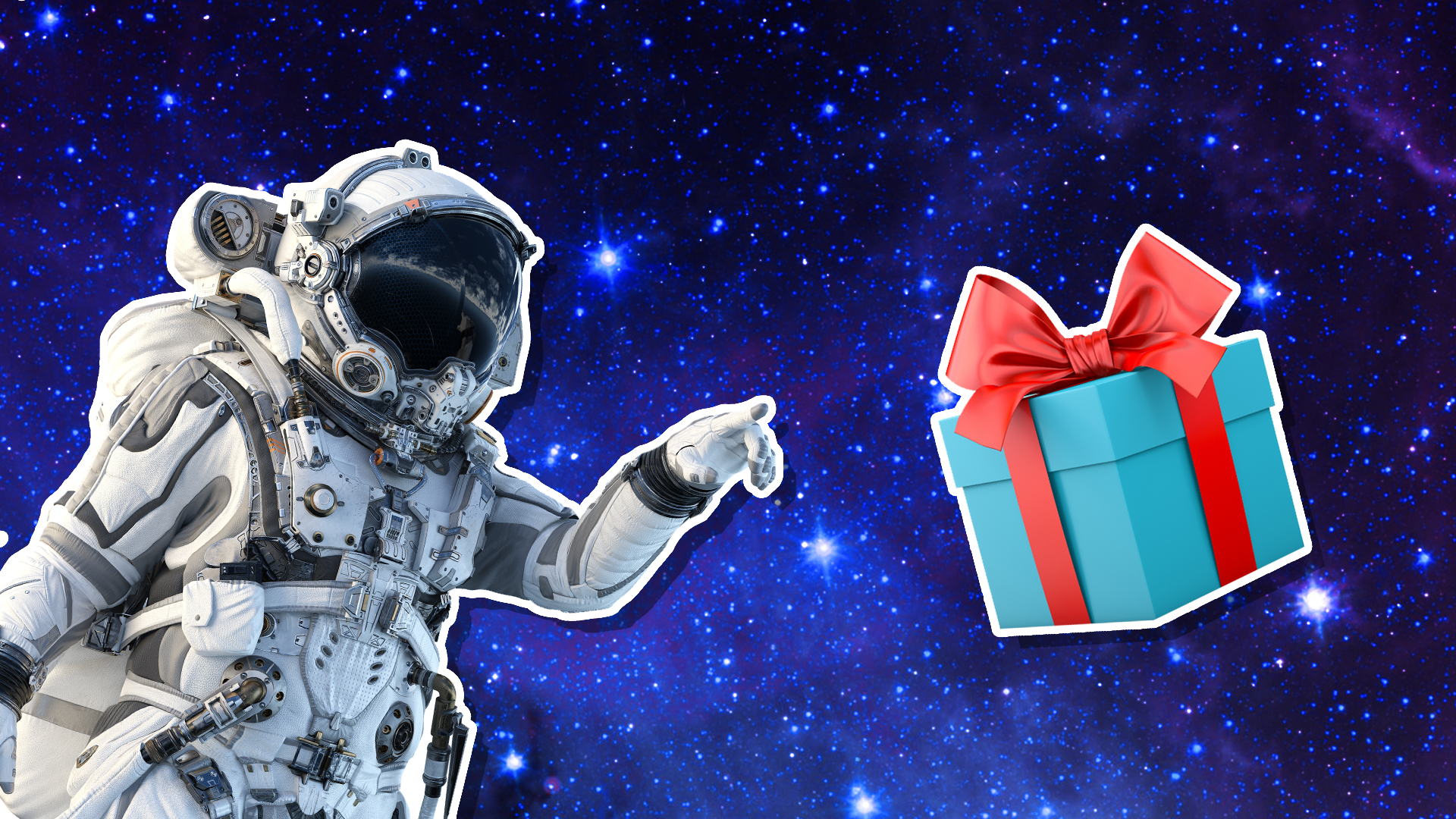 An astronaut in space with a floating gift