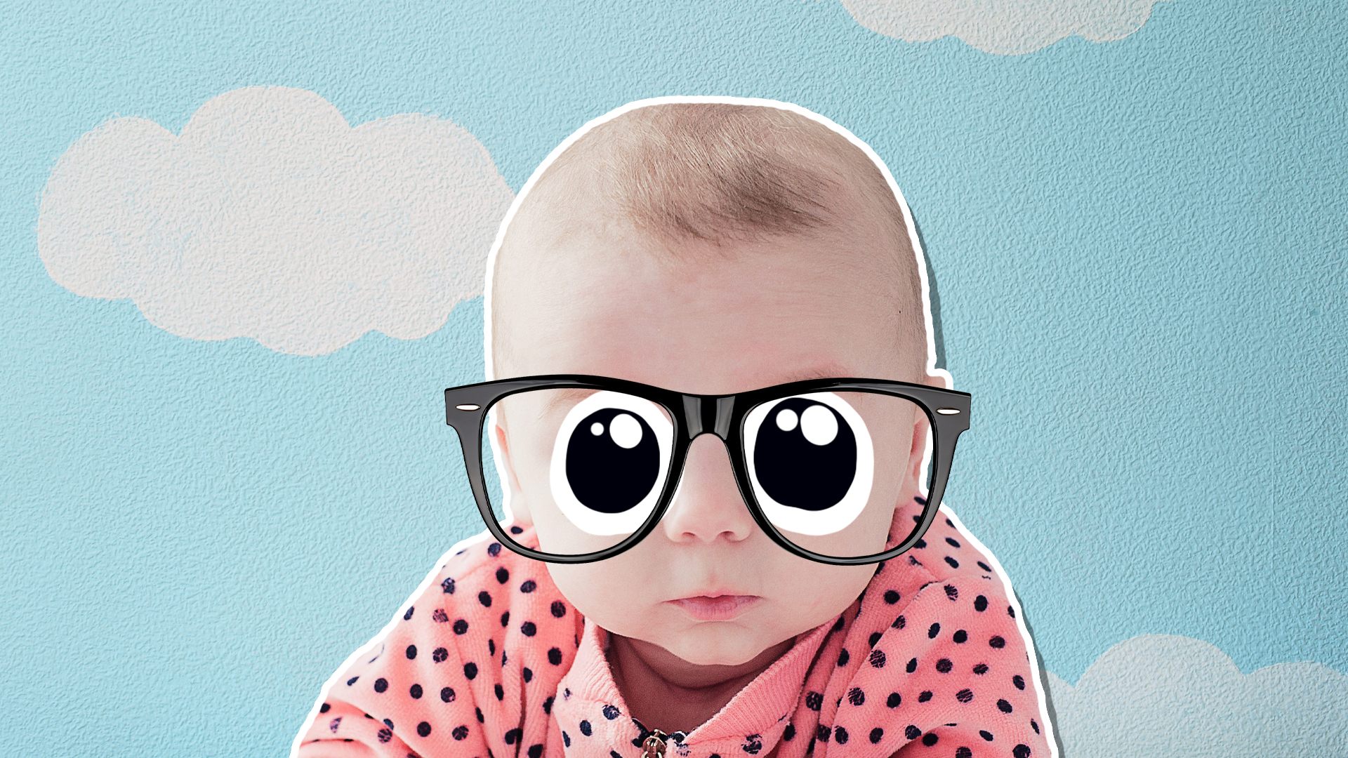 A baby wearing glasses