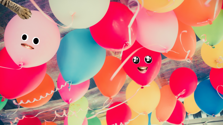 Balloons on a ceiling