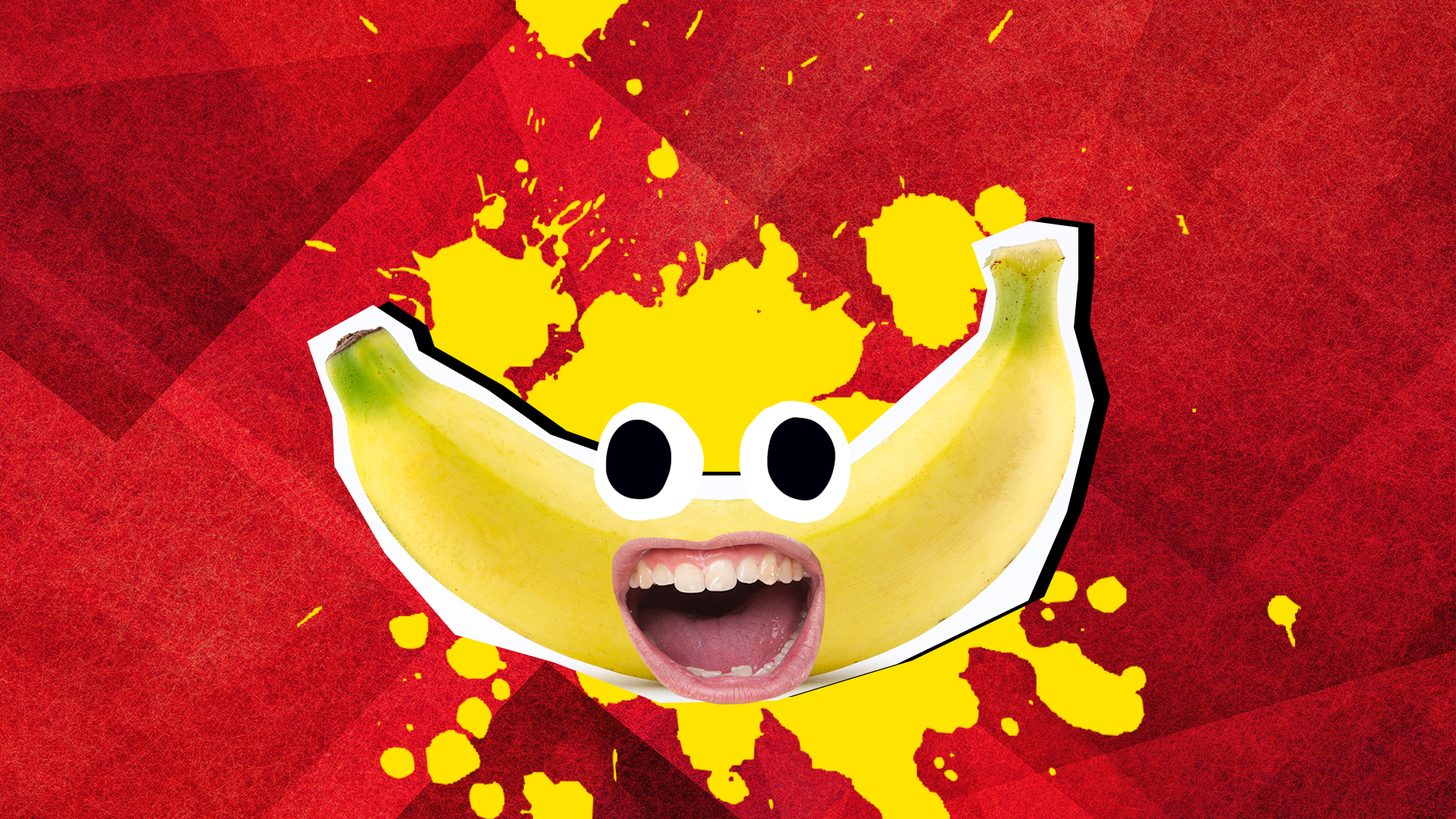 An excited looking banana in front of a red background
