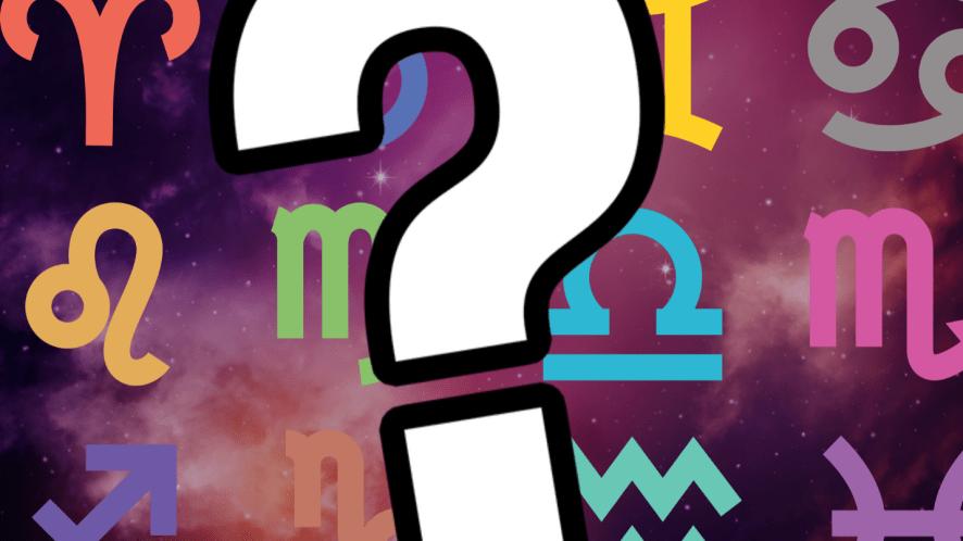 Zodiac symbols on a space background