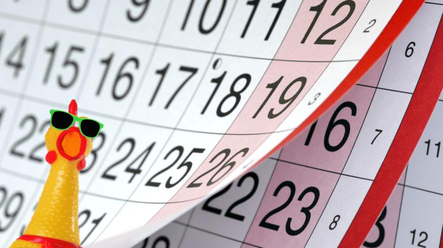 A calendar and a rubber chicken