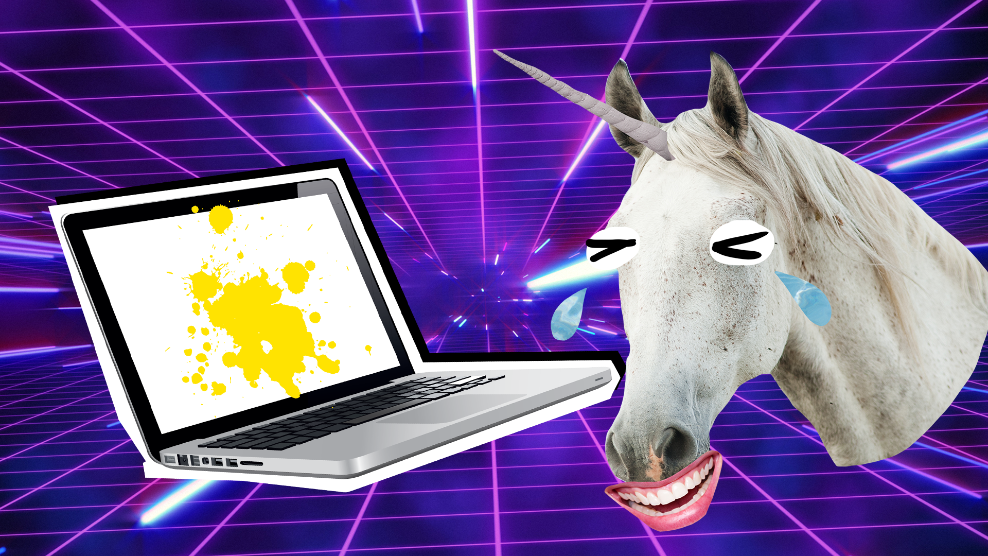 Cry laughing unicorn and a laptop