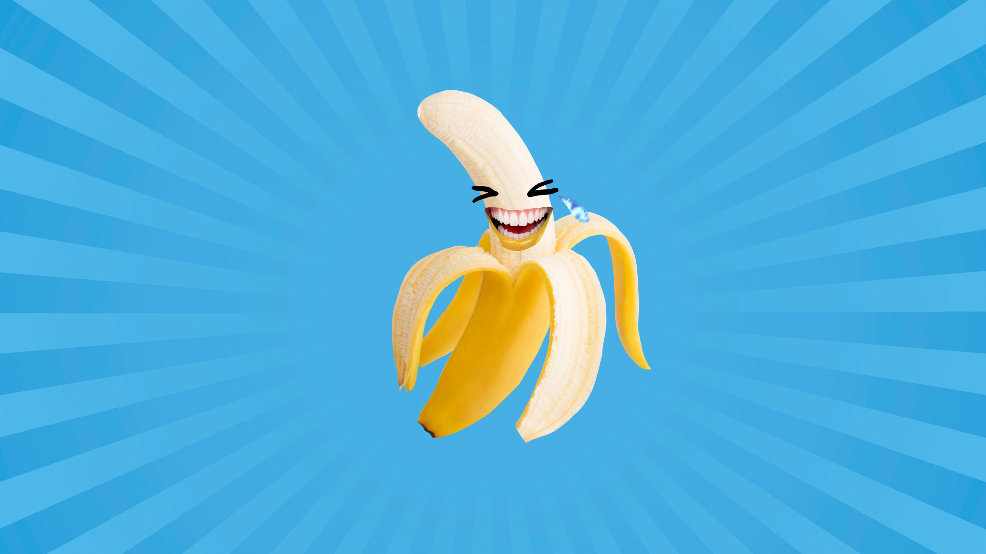 A laughing banana in front of a blue background