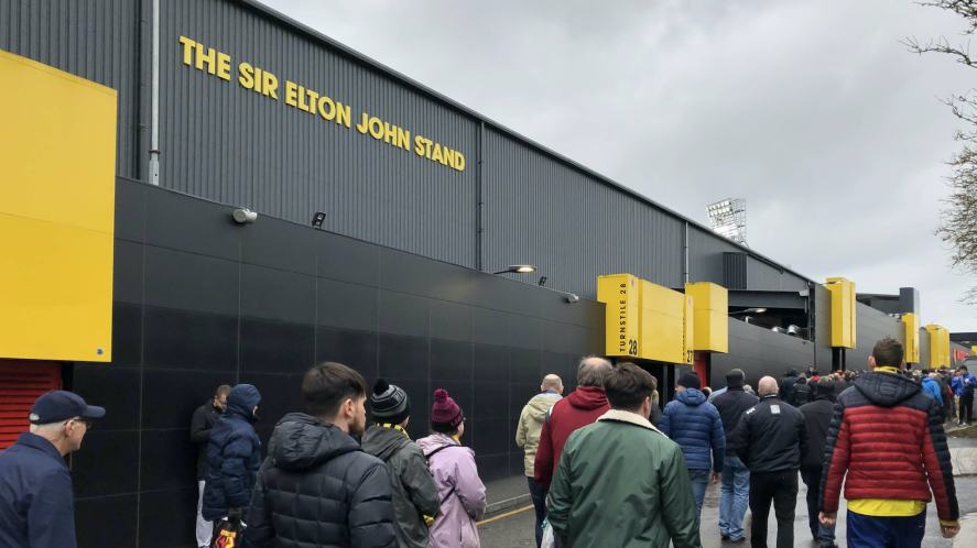 Watford fans go into the Sir Elton John stand