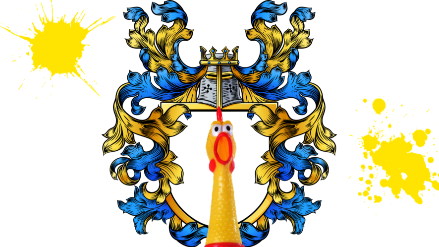 Coat of arms and rubber chicken