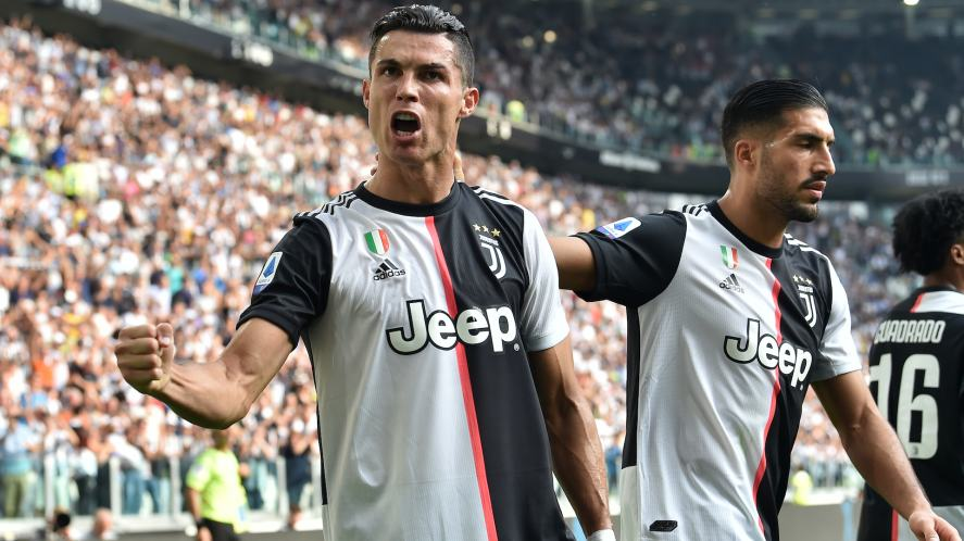 Cristiano Ronaldo of Juventus celebrates after scoring a goal in 2019