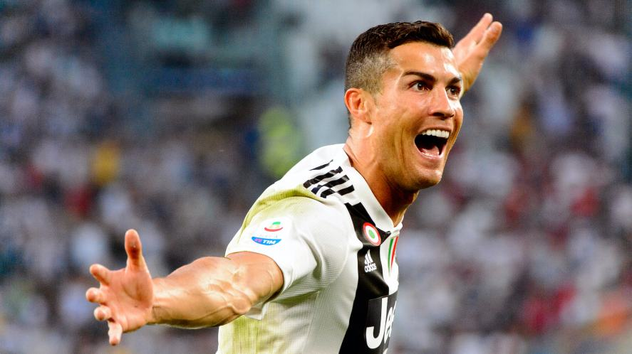 Cristiano Ronaldo celebrates after scoring a goal for Juventus