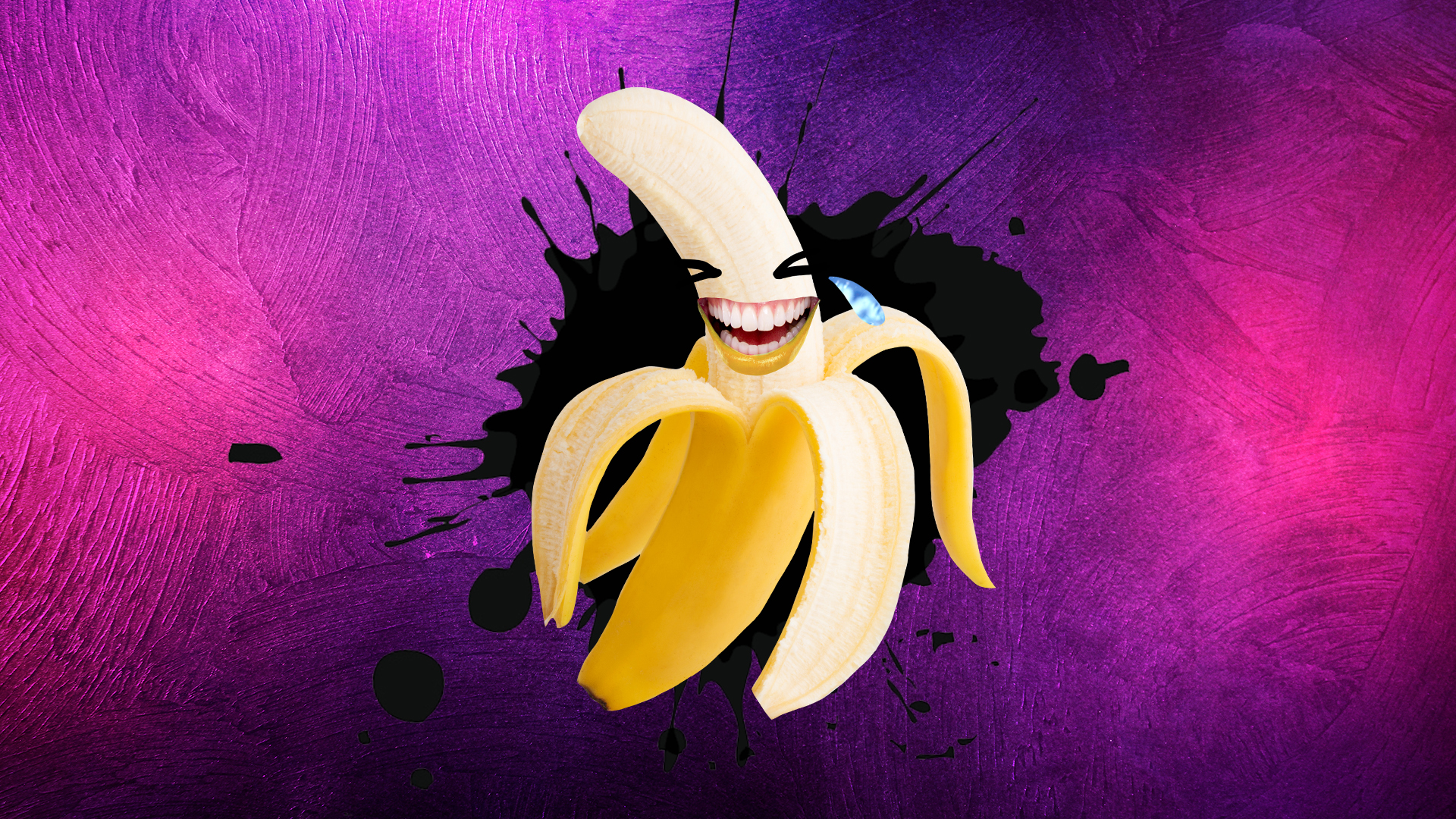 A laughing banana in front of a purple background