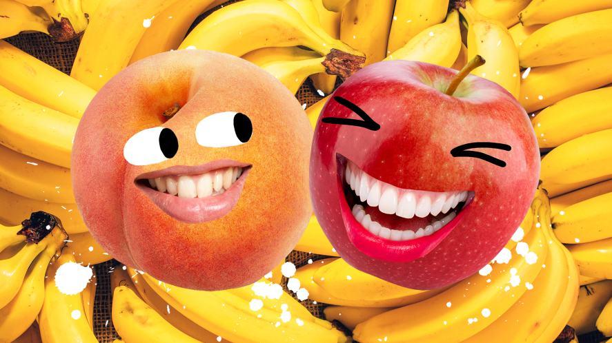 A peach and an apple