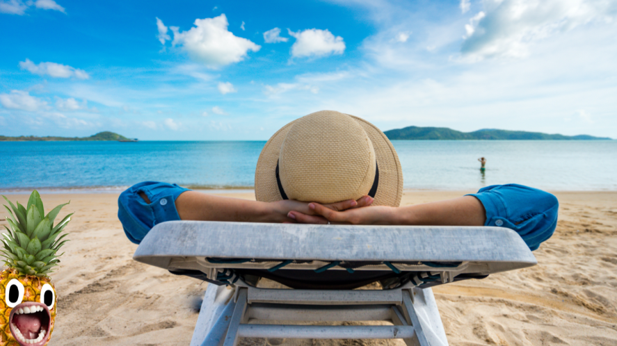 Person relaxes on a beach