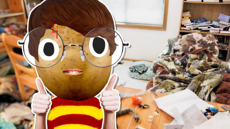 Harry Potter in a messy room