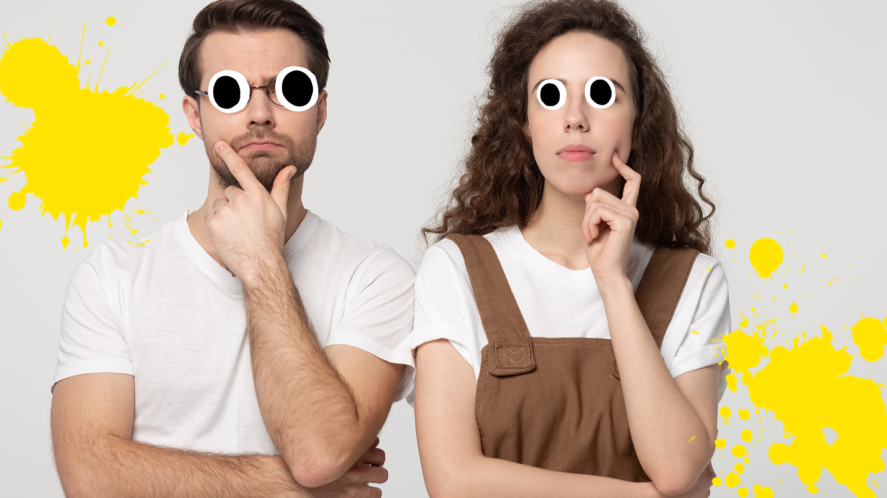 Two people looking puzzled