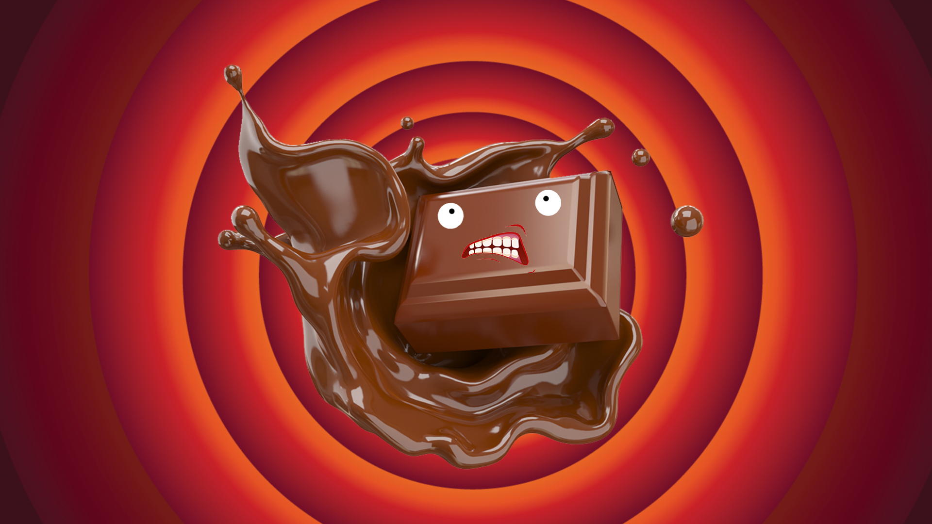 An angry looking piece of chocolate in front of an orange and red back background