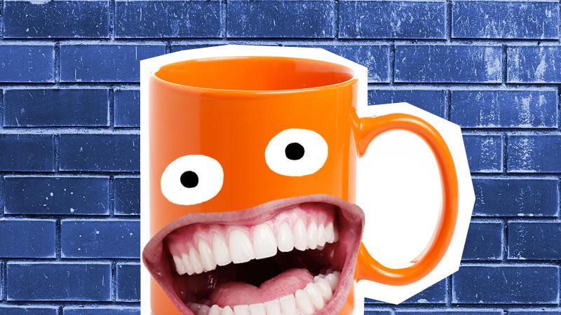 A grinning orange mug