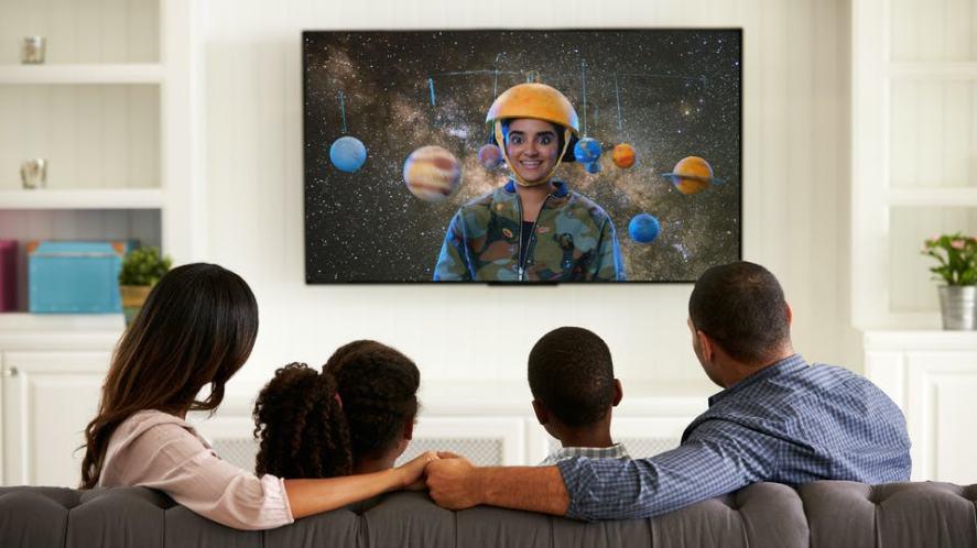 A family watching Brainchild on Netflix