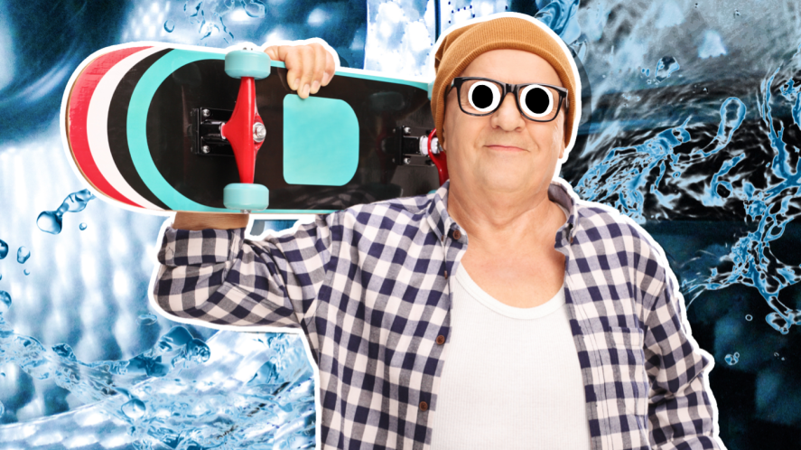 An elderly skateboarder
