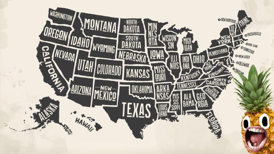 A map of the USA and a pineapple