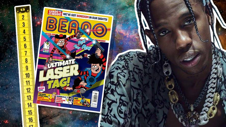 Travis Scott and a copy of the Beano