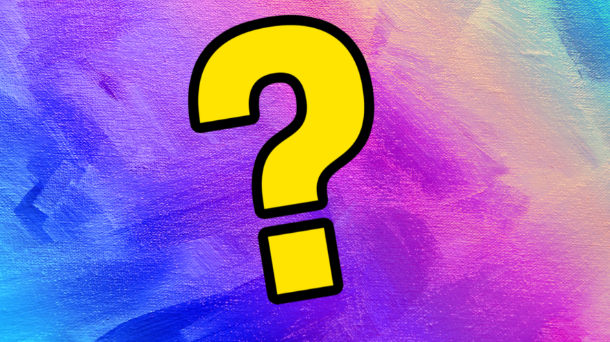 Question mark on  multi coloured background