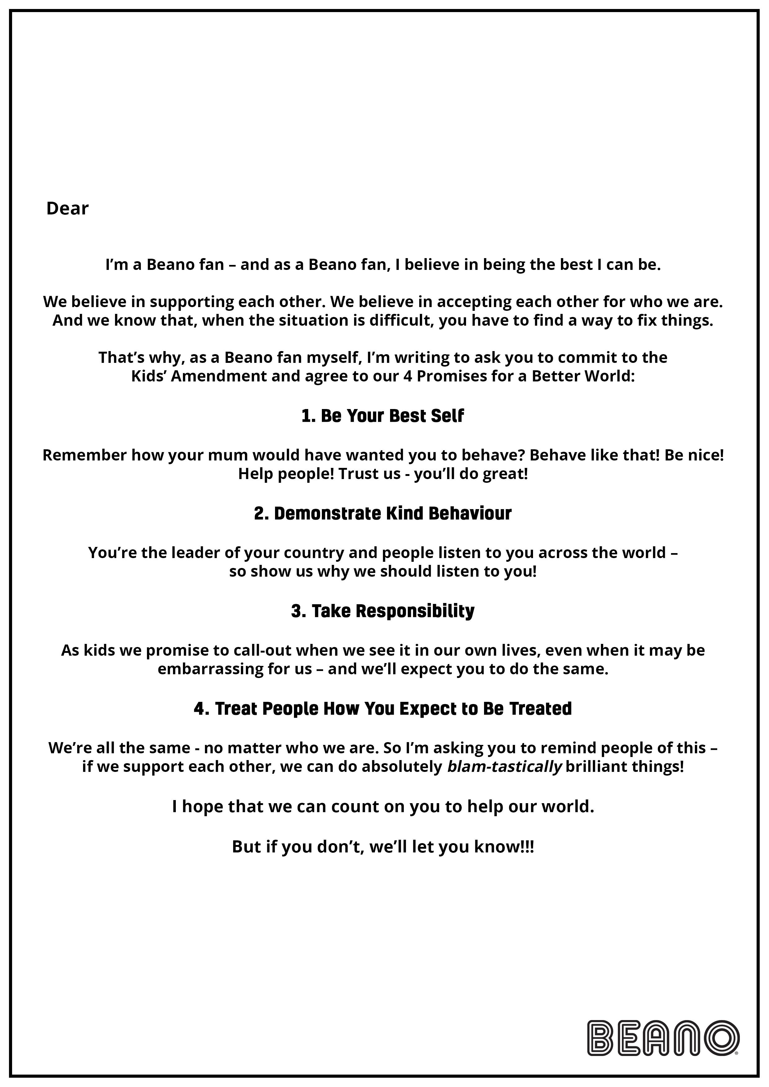 The Kids' Amendment - 4 Promises for a Better World
