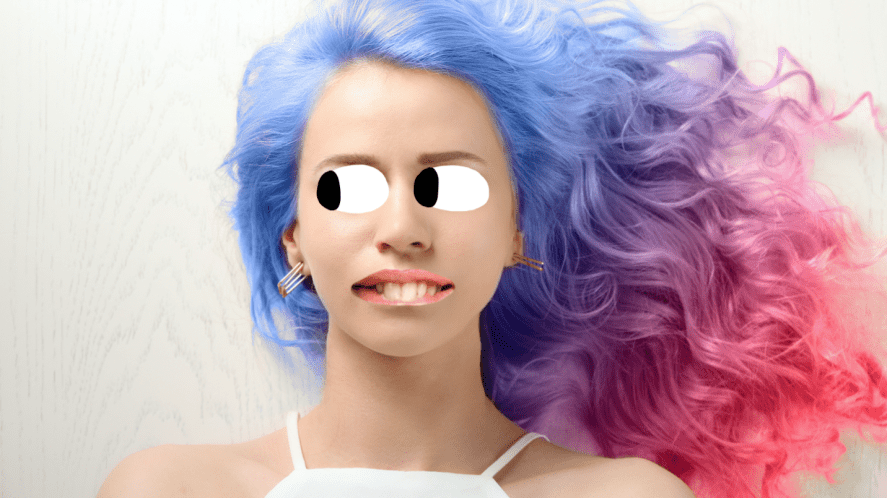 A woman with different coloured hair