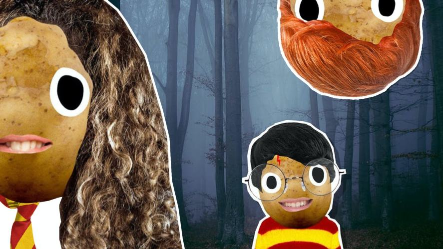 Hermione Harry and Ron in a forest