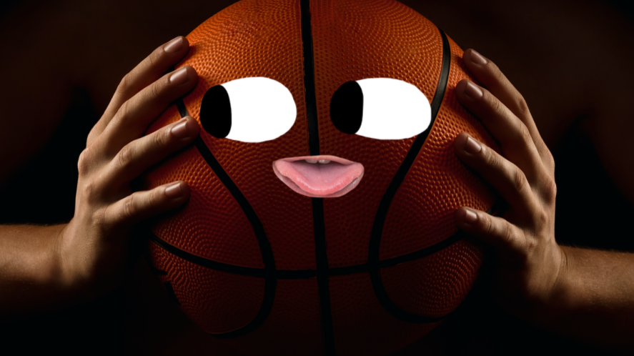 A basketball with eyes and mouth