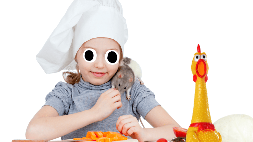 Girl in chefs hat with rat
