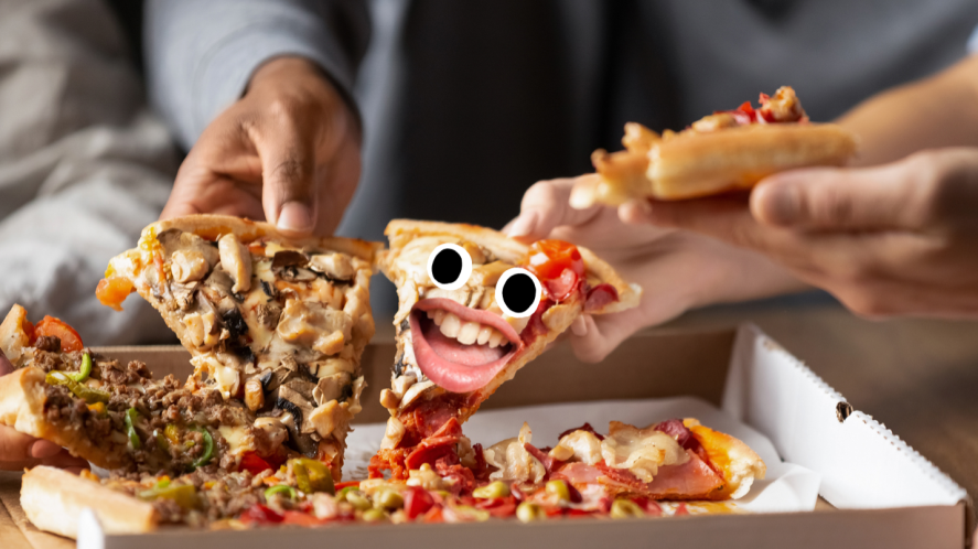People eating pizza