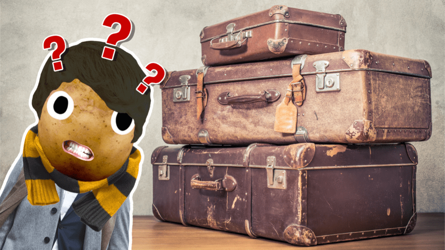 Newt Scamander and a pile of suitcases