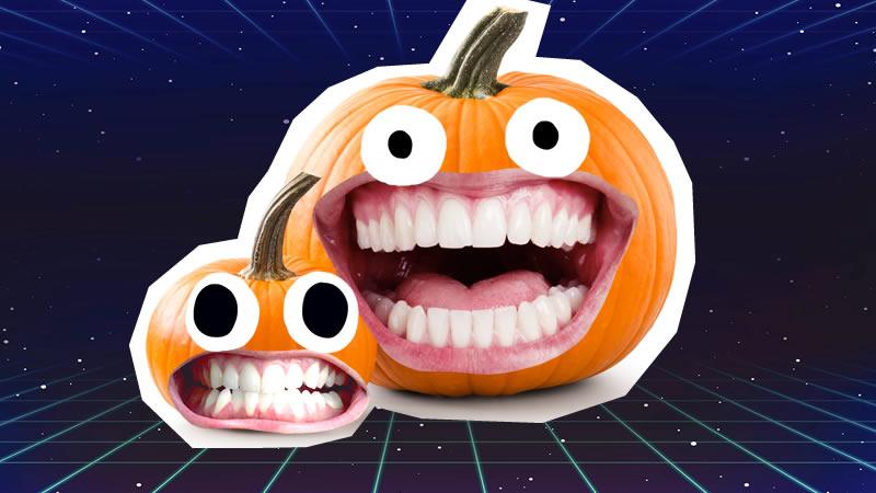 Two smiling pumpkins