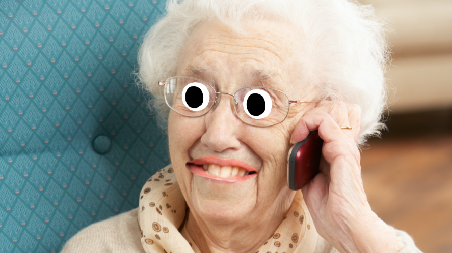 A gran on the phone