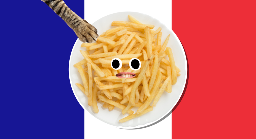 A plate of chips set against a French flag