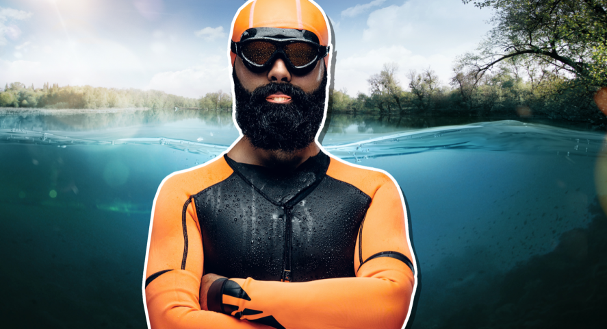 A swimmer in a river