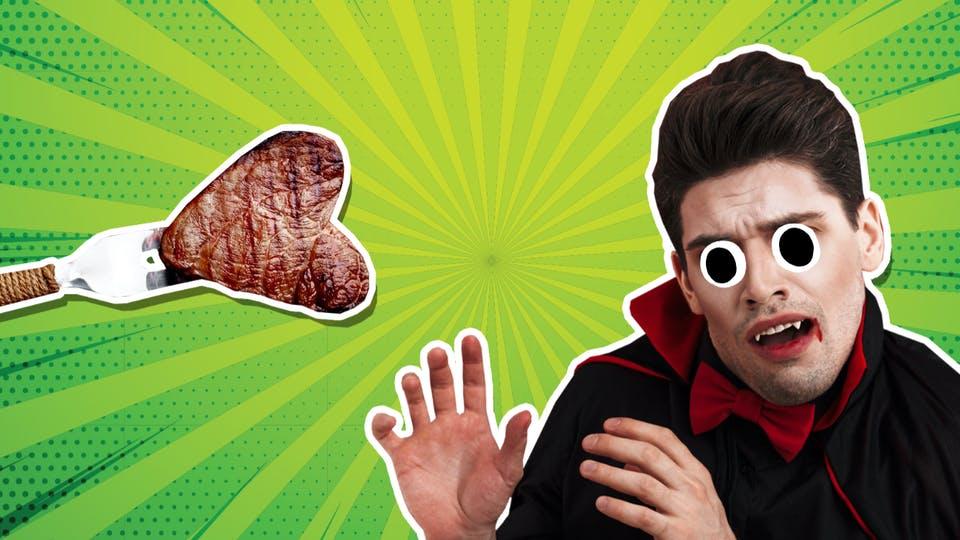 Dracula and a steak
