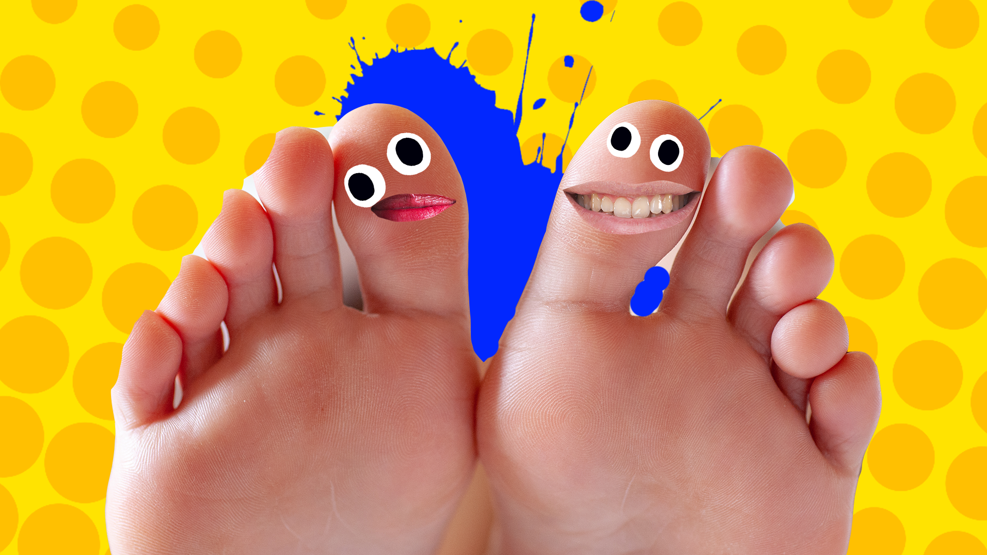 A pair of feet with the toes grinning