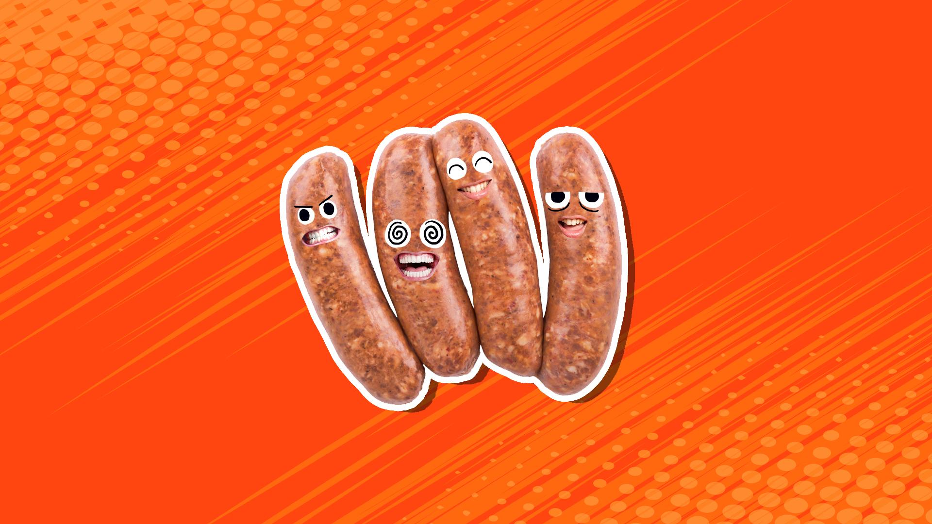 Four sausages laughing at a joke
