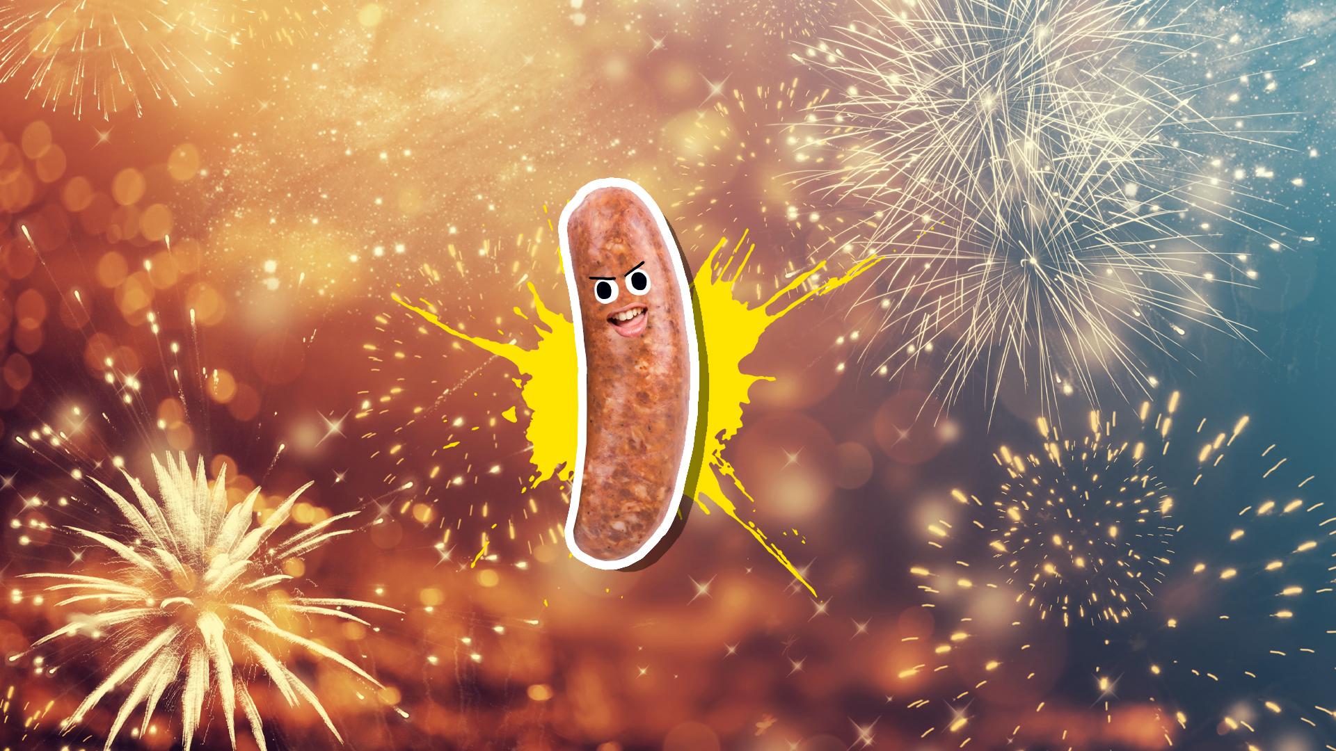 A sausage enjoying a firework display