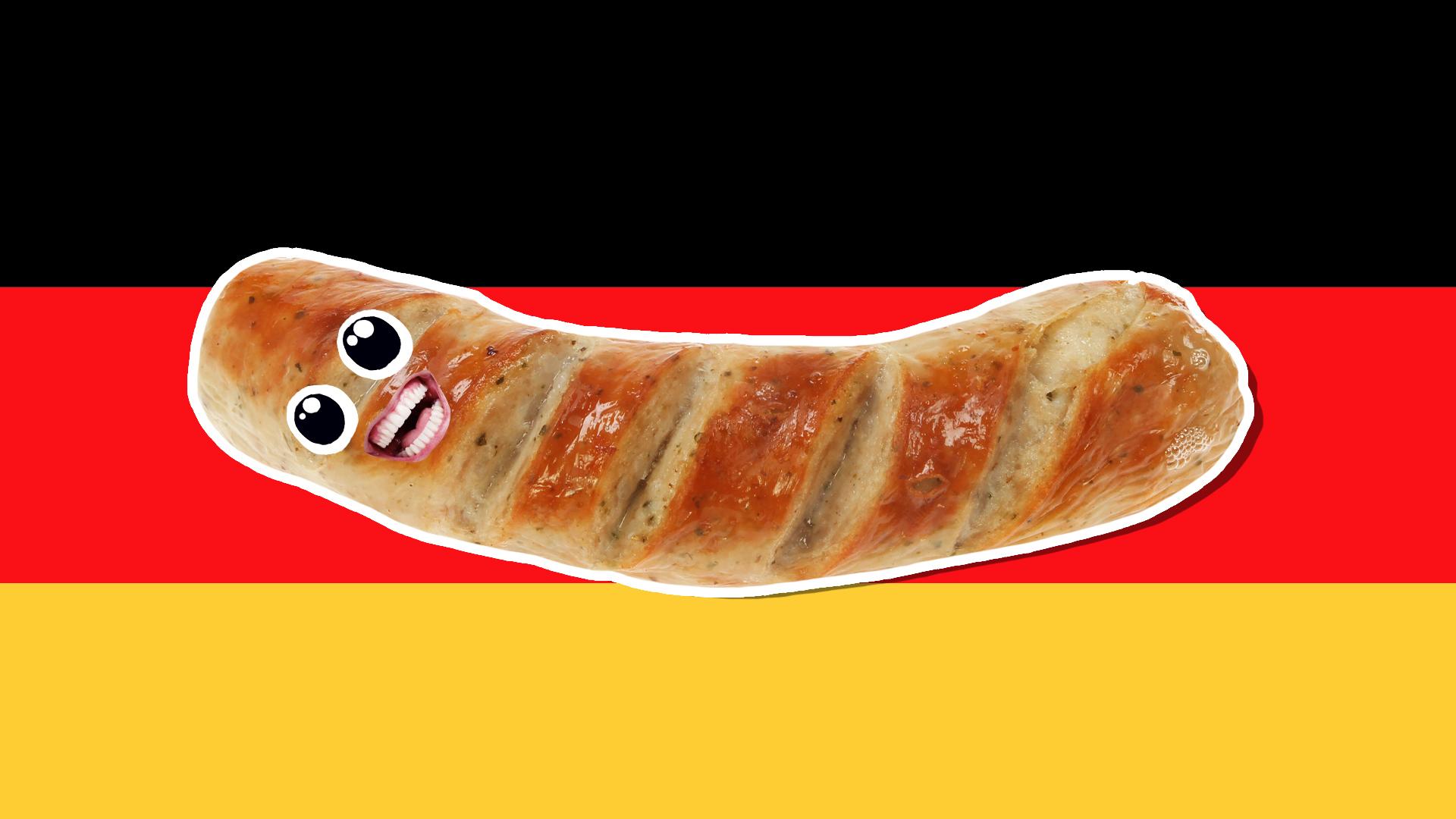 A sausage and German flag