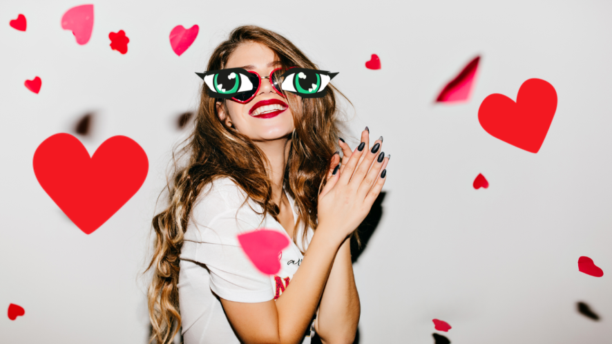 Woman in love heart glasses surrounded by hearts