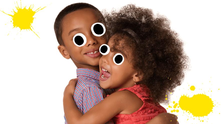 Two siblings embracing
