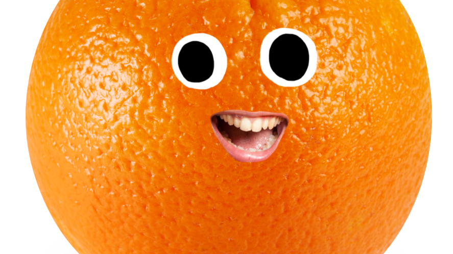 Orange with a smiley face