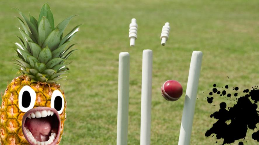 A pineapple witnessing a ball hitting stumps