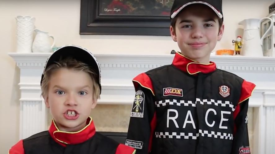 Jake and Ty dressed as racing drivers