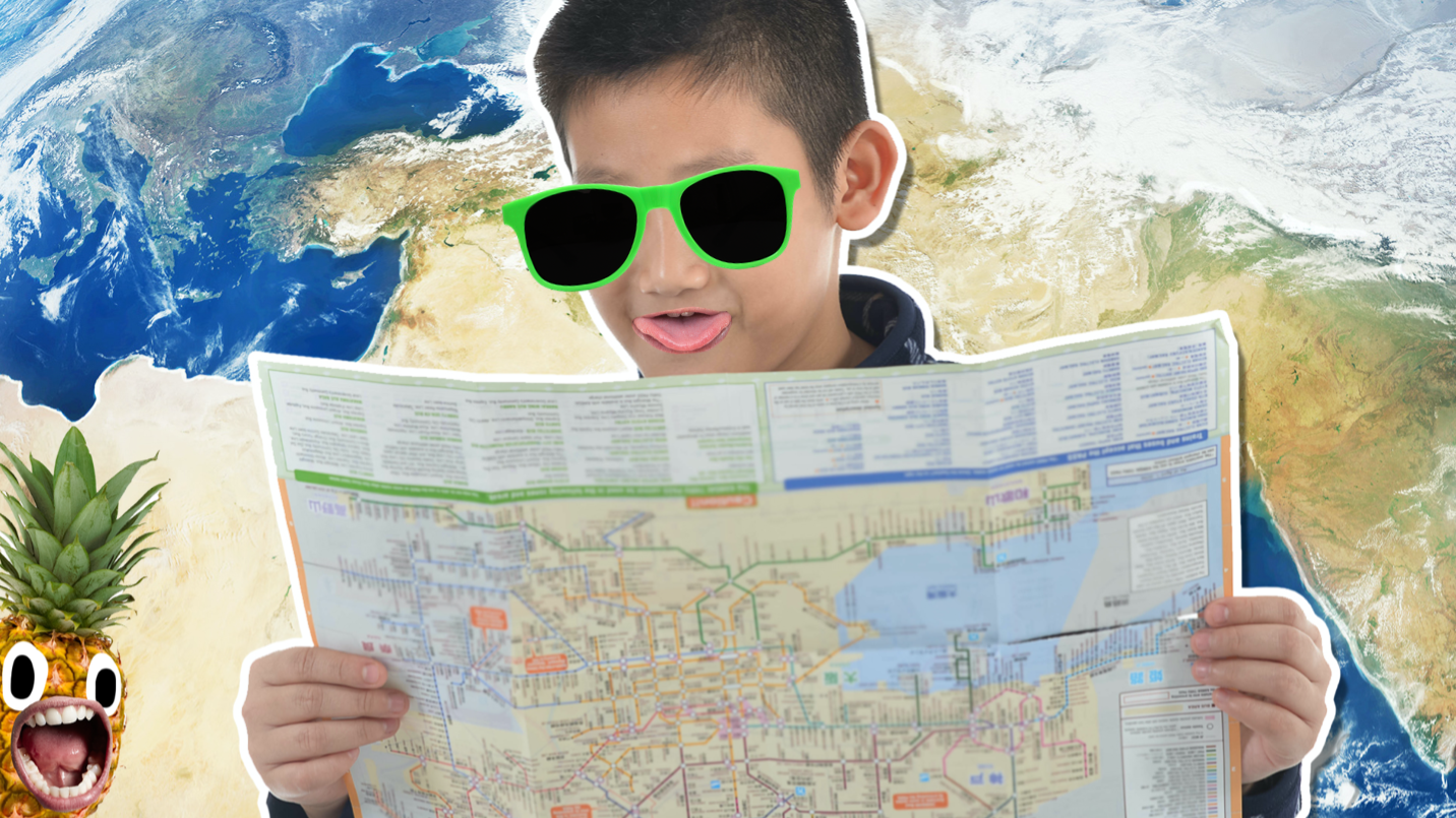 A child holding a map