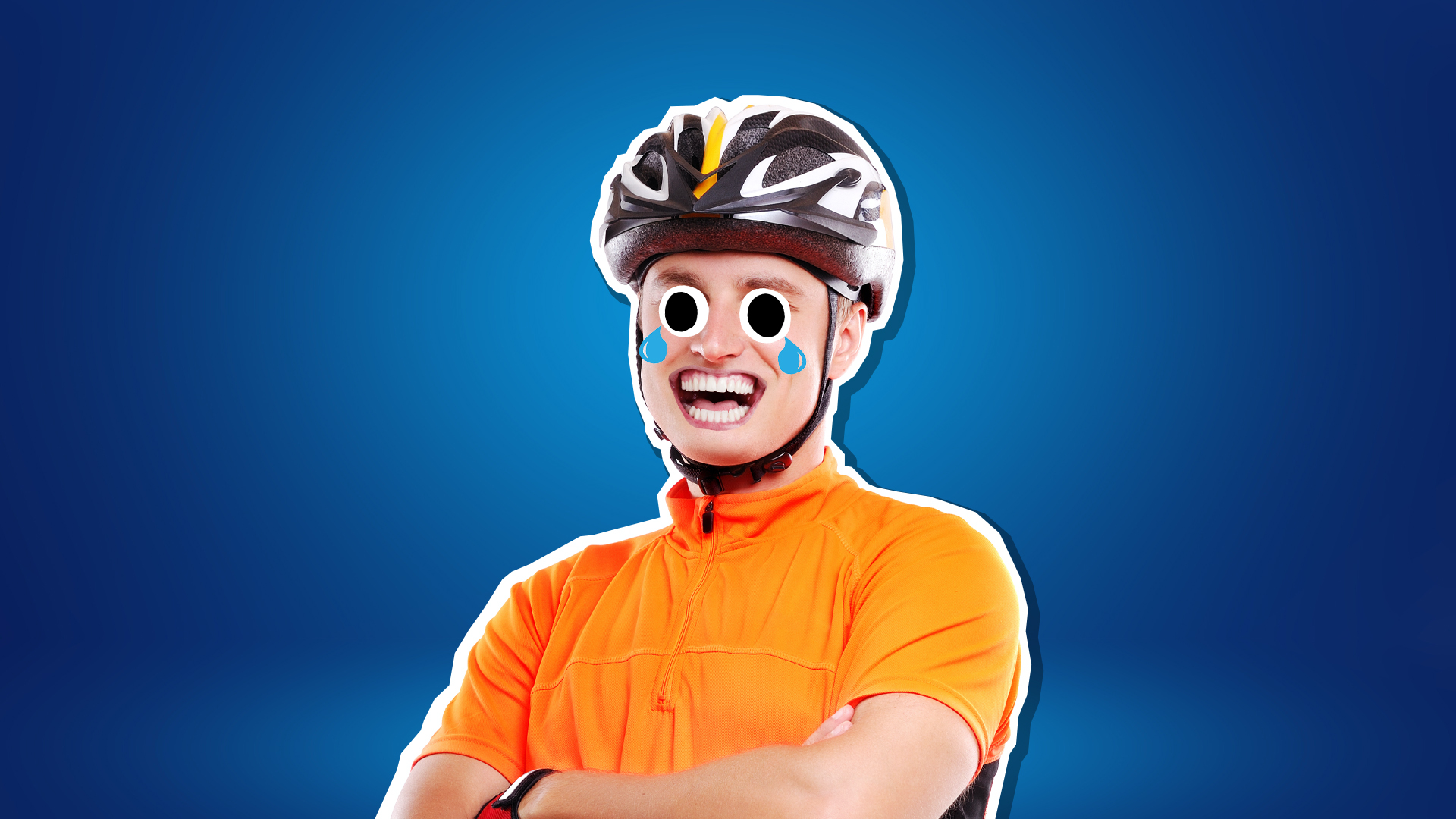 A cyclist crying with laughter