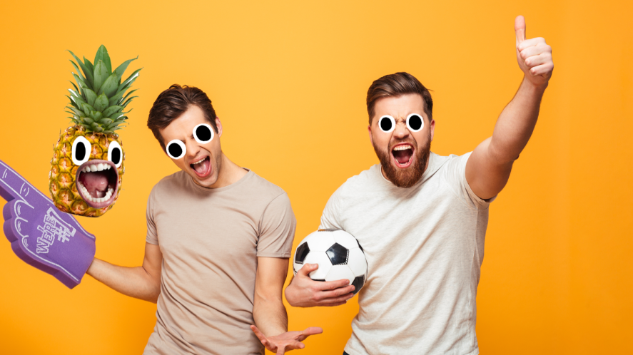 Two football fans on orange background