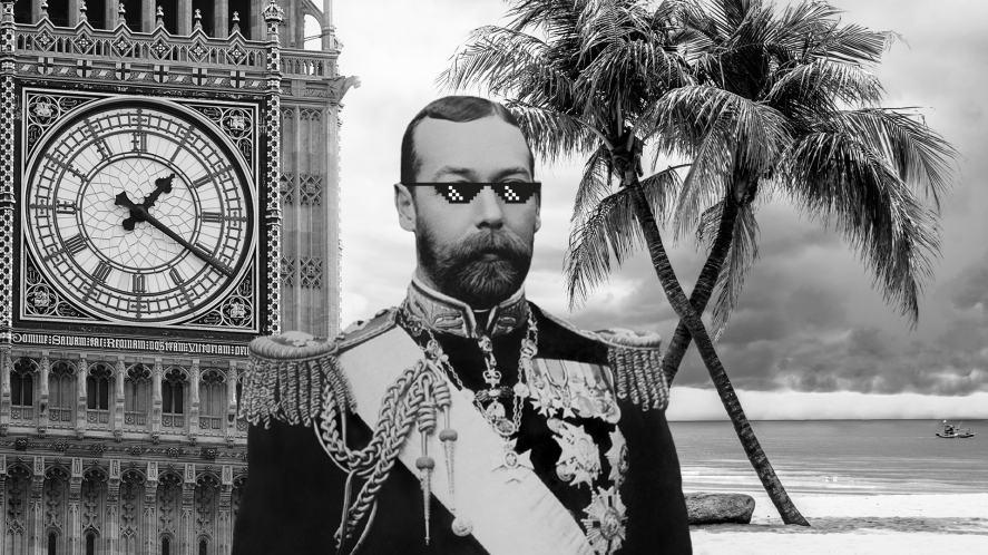 King George V on a beach